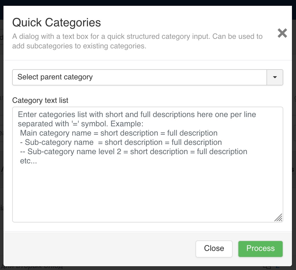 A dialog with a text box for a quick structured category input. Can be used to add subcategories to existing categories.