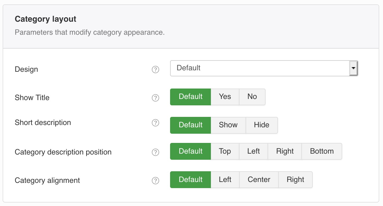Parameters that modify category appearance.