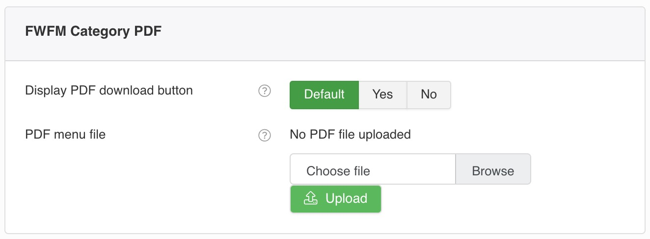 Upload a PDF file to allow your customers download alternative menu version.