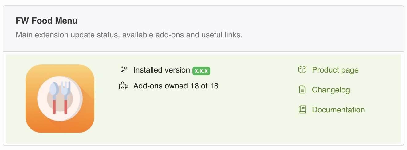 Main product update status, available <strong>add-ons</strong> and useful links.