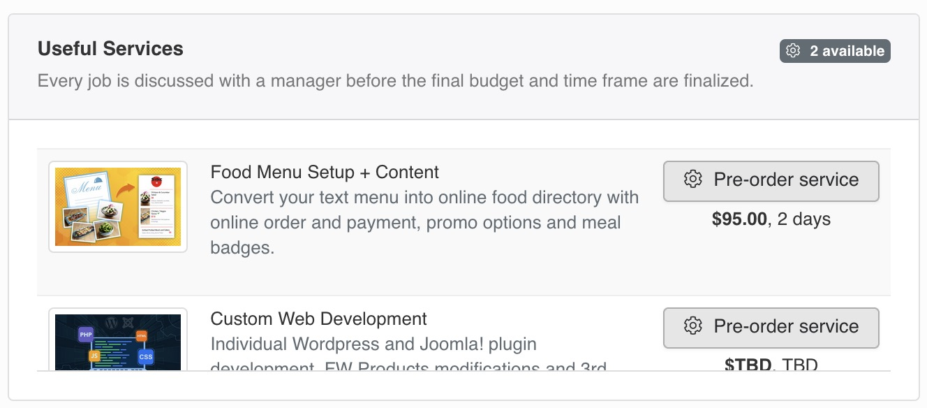 Services related to <strong>FW Food Menu</strong> that may help you extend or customize product design and layout.