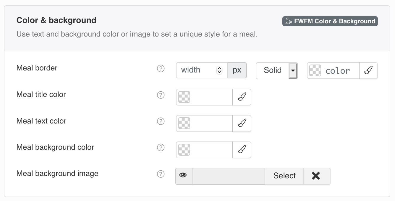 Use text and background color or image to set a unique style for a meal.
