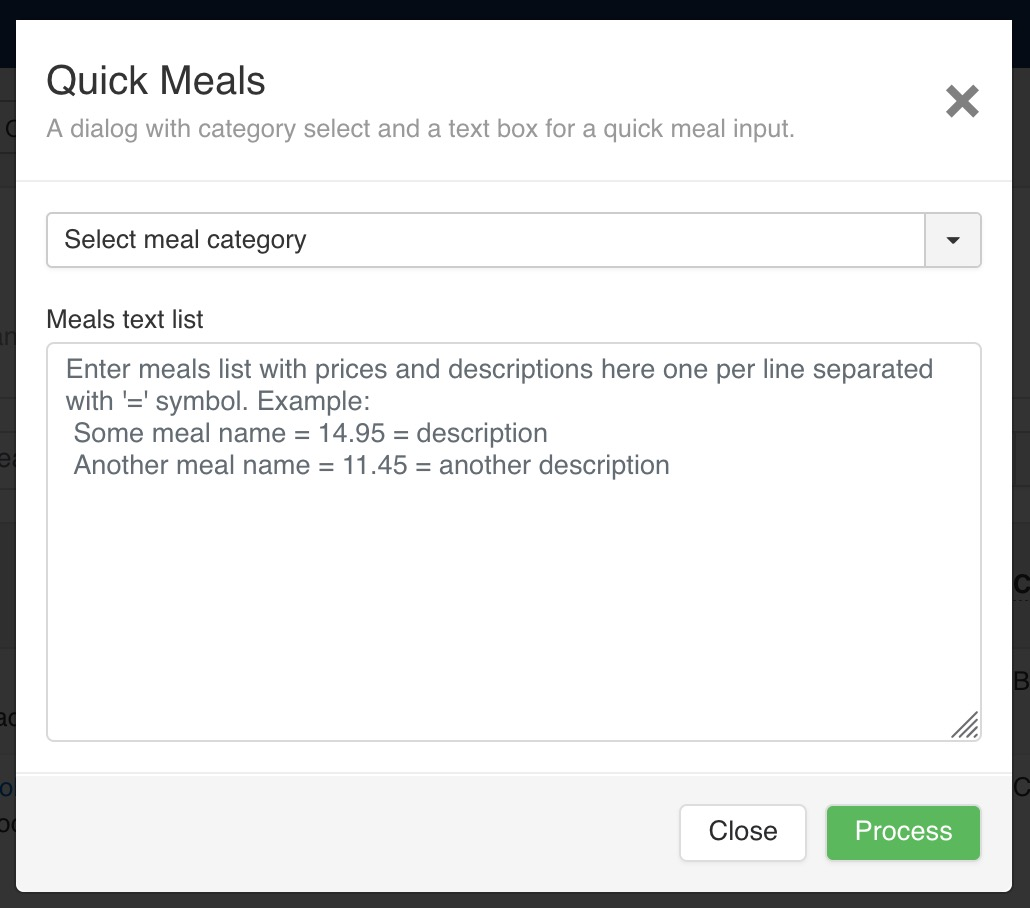 A dialog with category select and a text box for a quick meal input.