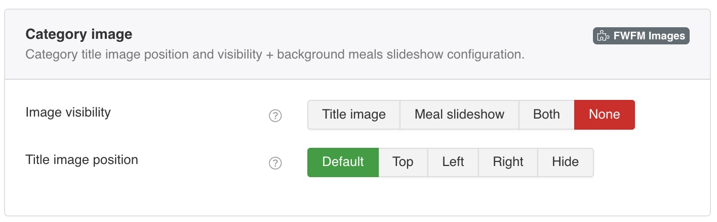 Category Title image position and visibility + background Meals slideshow configuration.