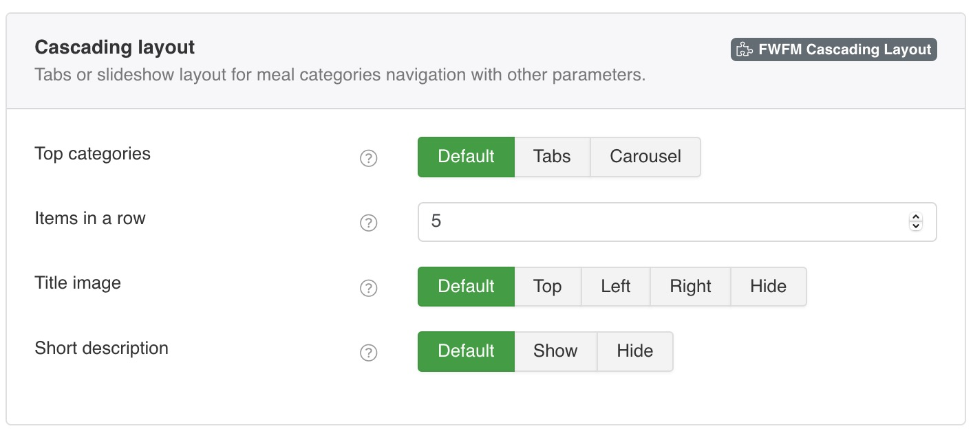 Tabs or slideshow layout for meal categories navigation with other parameters.