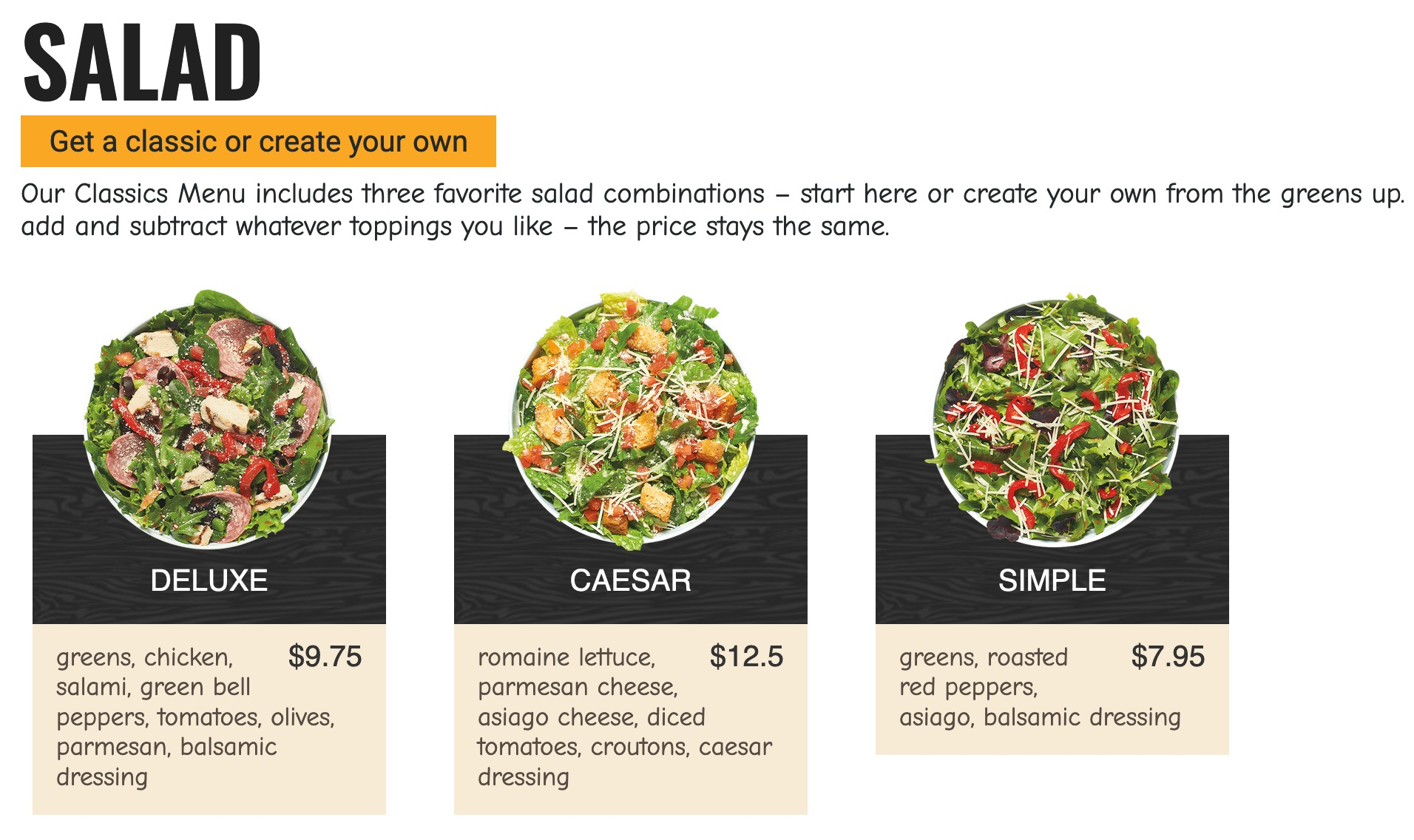 Bright <strong>Pizzeria</strong> theme with contrast image background and good color balance to help a customer find its favorite pizza or salad. Sub-category design is available and groups categories in nice sections that are easy to read.