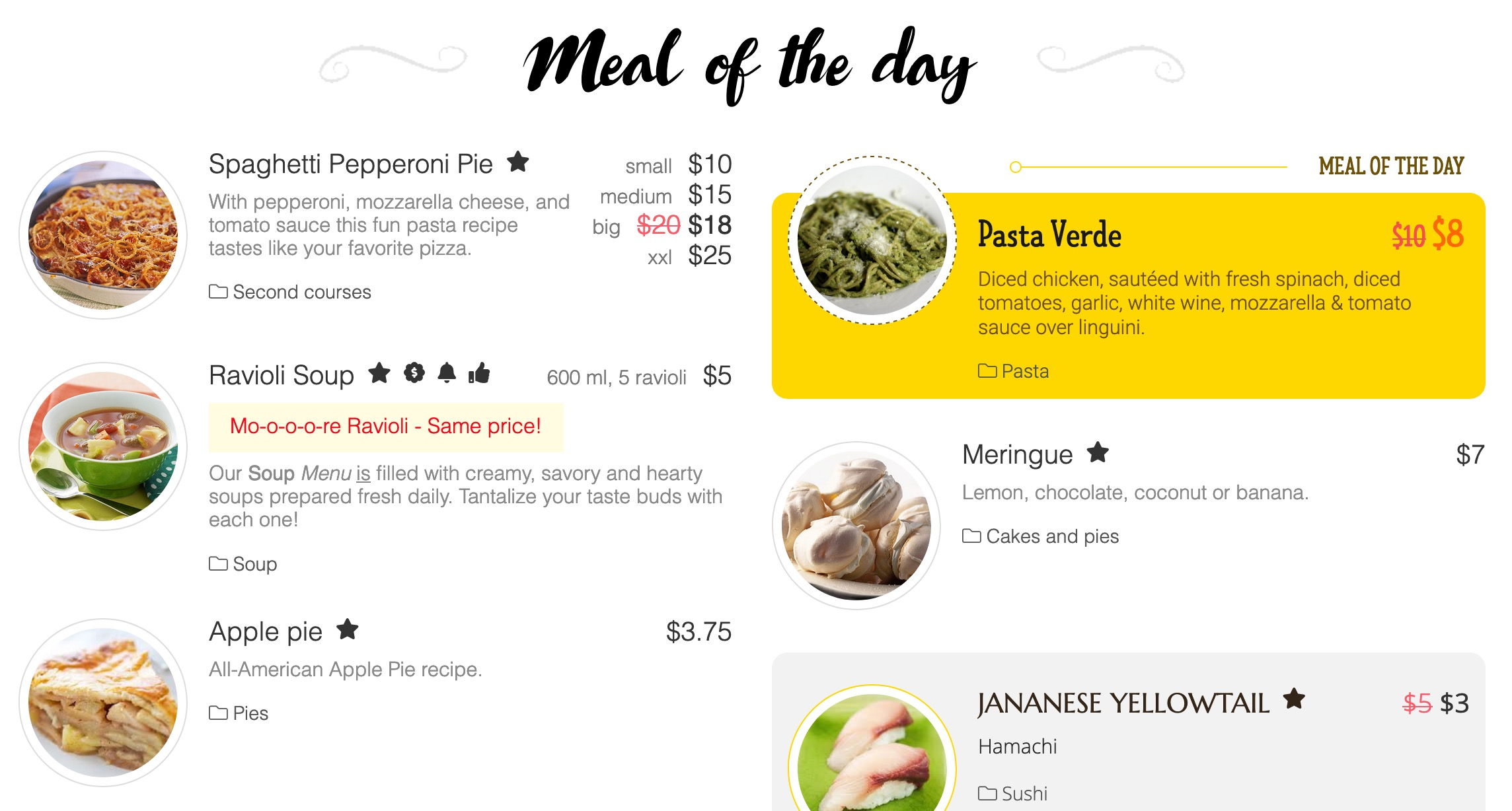 A new layout to Meals that allow to show all promot items in one page. You can show all promos together or separated by type. Currently 4 promo types are available: <ul><li>Meal of the day - an item that will show always on top of a category list disregarding orerding set in Admin.</li><li>Special offer - it is a text message that will show up in a sepcial above a meal description.</li><li>New - will mark meal as with a new badge to differ from other meals.</li><li>Recommended - will show recommended label over menu box at the lower right to promote a meal.</li></ul>constant-hint/title