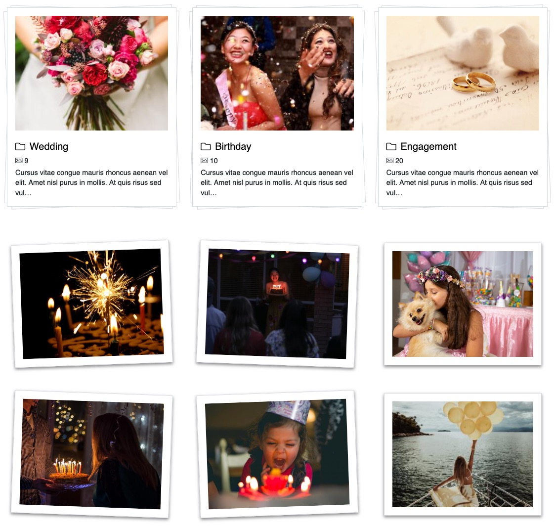 <p>Present your gallery with awesome polaroid design. Enables you to create stylish and responsive images grids in polaroid style.</p><ul><li>Mobile-ready</li><li>Cross-browser compatible</li><li>Performs at the highest degree</li></ul>