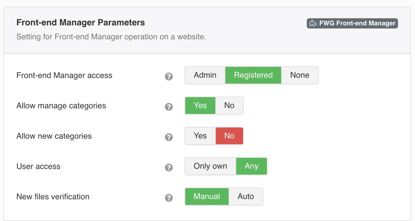 Setting for Front-end Manager operation on a website.
