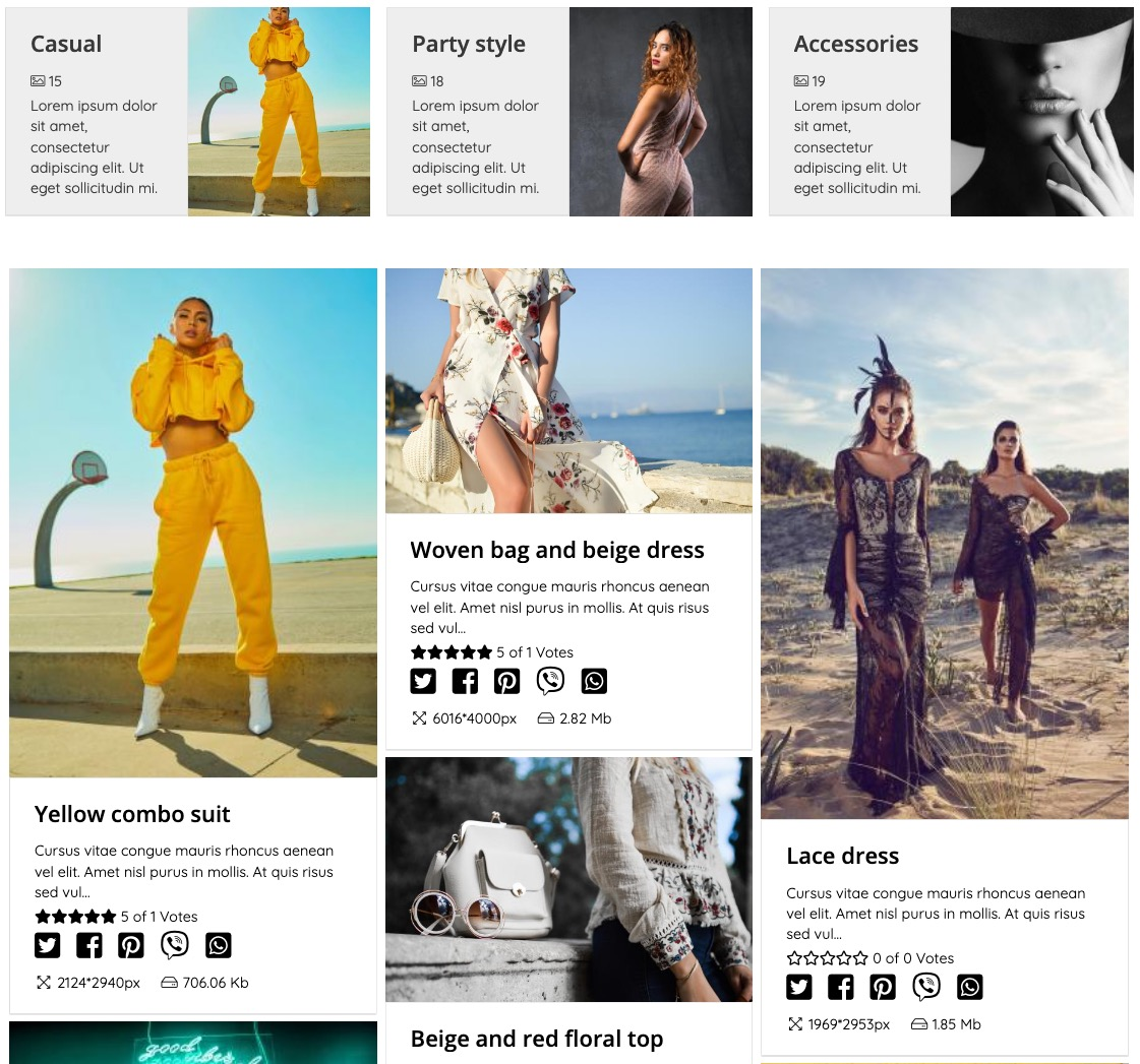 <p>Clean and modern-looking design for your gallery. A well-structured layout allows you to show off your galleries in an elegant way and gives your visitors a pleasing experience.</p>