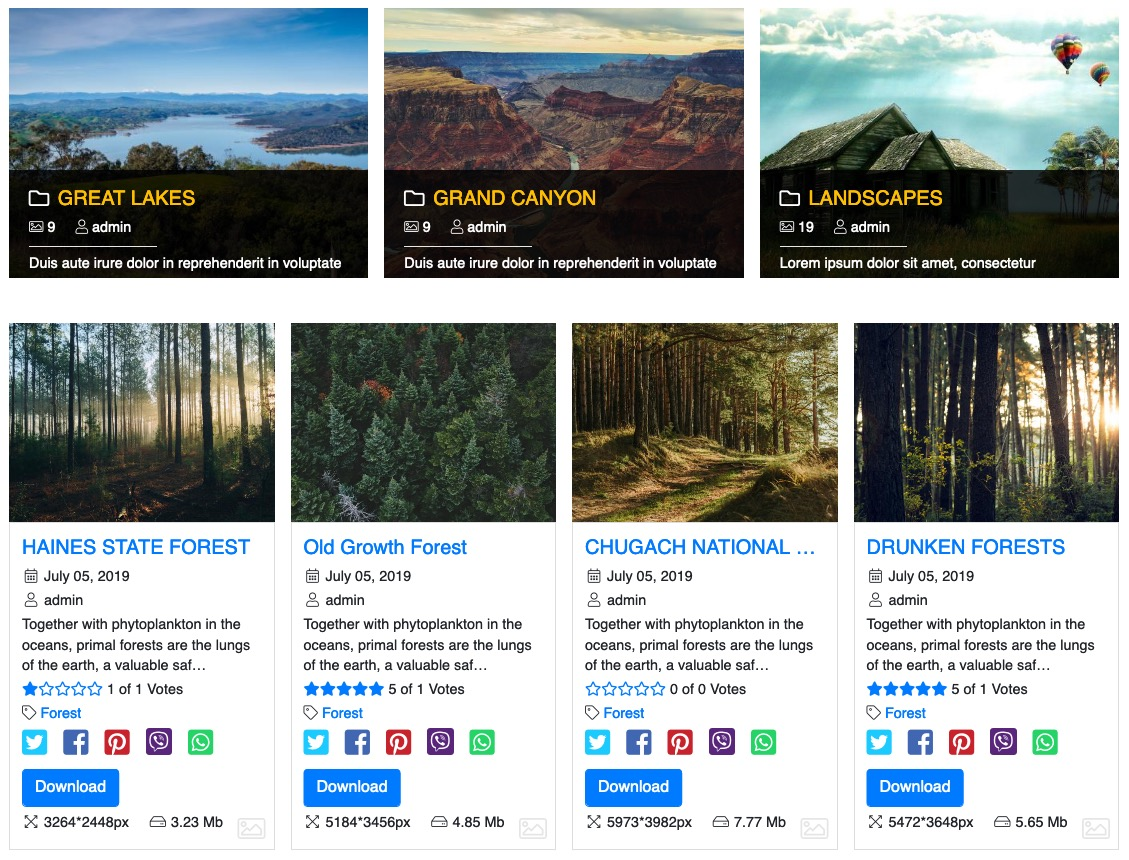 <p>Clean and minimalistic design for your gallery. Allows presenting your galleries in an attractive and simple way.</p>