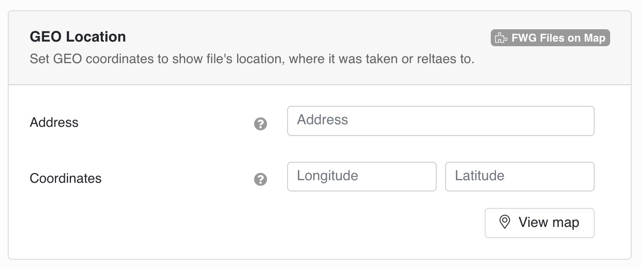 Set GEO coordinates to show file's location, where it was taken or reltaes to.