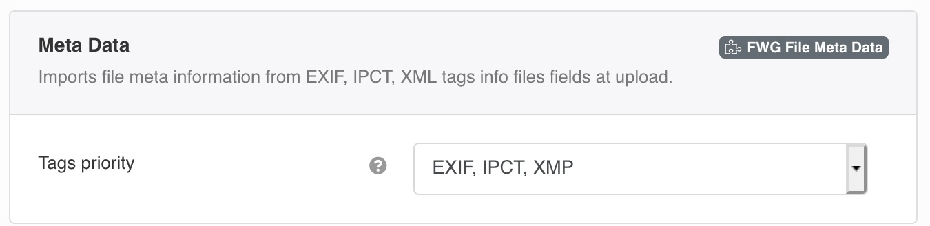 Imports file meta information from EXIF, IPCT, XML tags info files fields at upload.