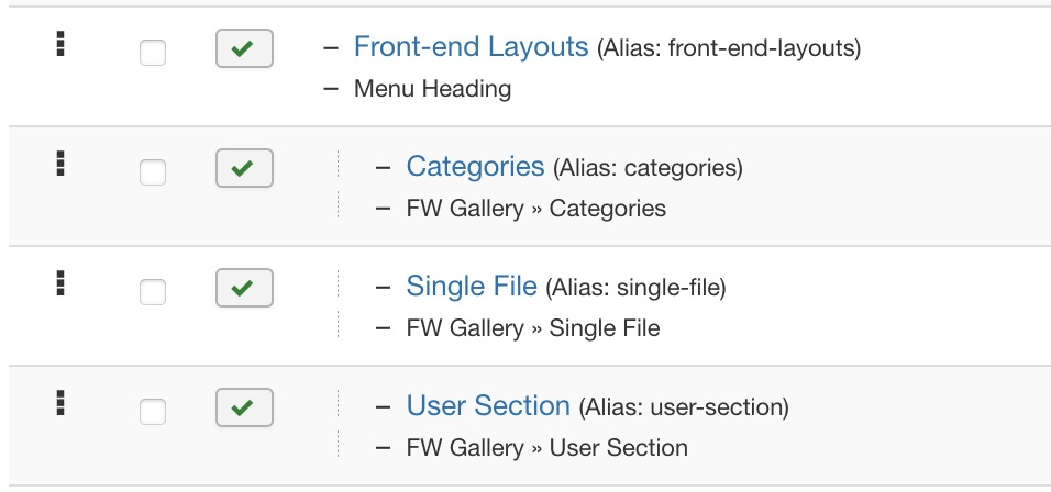 All <code>FW Gallery</code> front-end layouts that can be assigned as menu items to the main or some other menu are described in this section with screenshots and parameters available.